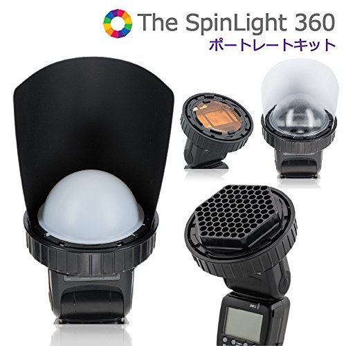 SpinLight 360 Portrait Modular System for On Camera Flash Light Control, Includes Ring Module, Black and White Grid Set, White Dome, Clear Dome