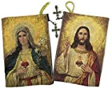 Sacred Heart with Immaculate Heart Tapestry Rosary Pouch Keepsake