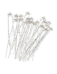 MagiDeal 10 Pieces/ Lot Glitter Rhinestone Faux Pearl Flower Design U Shaped Hair Pins Jewelry Wedding Party Prom Lady Hair Headdress