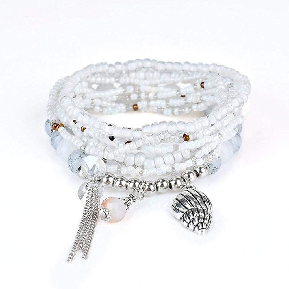 Pulsera de Perlas étnicas para Mujer, Colgante de aleación de Piedras Preciosas multicapas, Pulsera