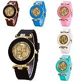 CdyBox 6 Assorted Ladies Women Kids Girls Rhinestone Crystal Watch Silica Gel Wristwatch