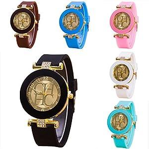 CdyBox 6 Assorted Ladies Women's Wrist Watch Girls Rhinestone Crystal Watch Silica Gel Wristwatch