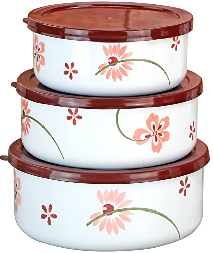 - Corelle Coordinates by Reston Lloyd 6-Piece Enamel on Steel Bowl/Storage Set, Pretty Pink