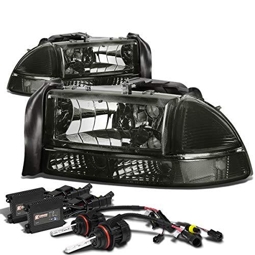 For Dodge Dakota/Durango 4pcs Headlight+12,000K 9007 Hi-Lo HID+Slim Ballasts (Smoke Lens) ()