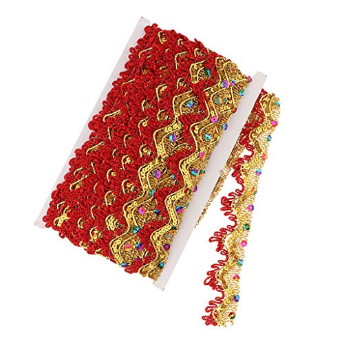 (SM SunniMix 14 Yards Gold Lace Trim Fabric Sewing Embroidery Sequin Ribbon DIY Wedding Craft Accessories Hometextile Embroidered Polyester Lace Trimming 1.38inch - red)
