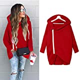 Palarn Women Zip Hoody Sweatshirt Ladies Hooded Jacket Pullover Hoodies Top Blouse (XL, Red)