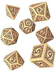 Q WORKSHOP Viking Beige & Bourgondië RPG Ornament Dice Set 7 Polyhedral Stukken