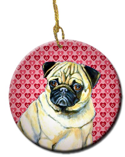 Multicolor Carolines Treasures Lh9162co1 Pug Valentines Love And Hearts Ceramic Ornament