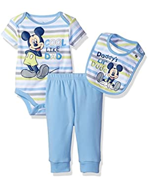 Disney Baby Boys' Mickey Mouse 3 Piece Bodysuit, Pant, and Bib Set
