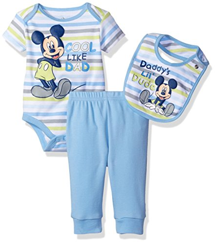 Disney Baby Boys' Mickey Mouse 3 Piece Layette Set, Light Blue, 6-9 Months