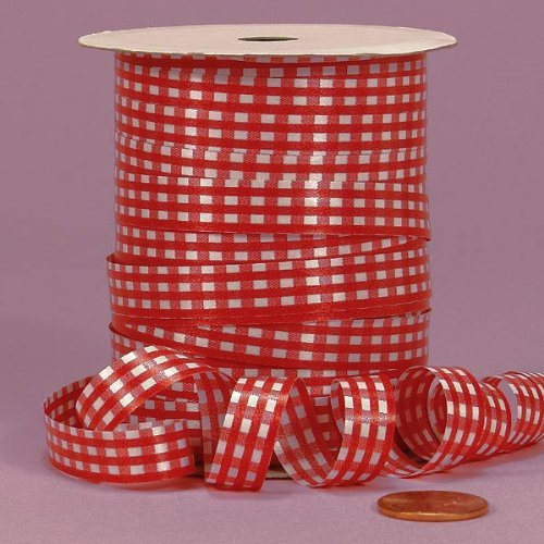 Red Gingham Curling Ribbon, 3/8