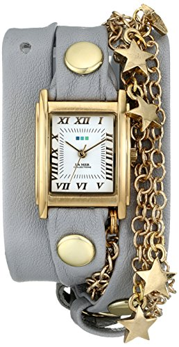 Multi Chain Wrap Watch - La Mer Collections Women's LMCW5001 Gold-Tone Star Charms and Multi-Chain Wrap Watch With Gray Leather Band