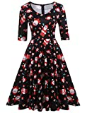 ELESOL Women Santa Claus with Gifts Printed Christmas Dress,M