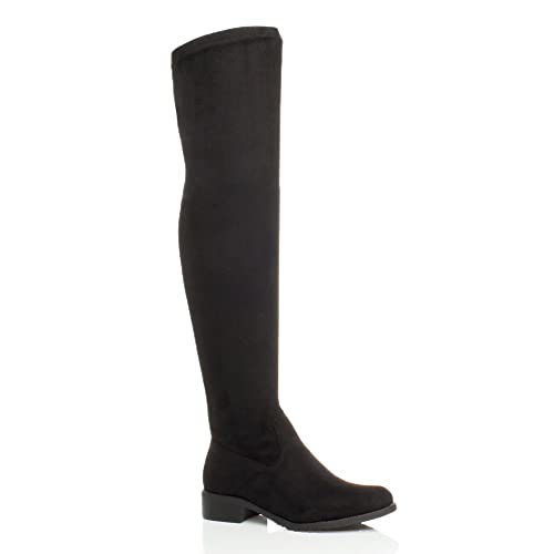 8c3d7528911e WOMENS LADIES LOW HEEL THIGH HIGH OVER THE KNEE STRETCH RIDING BOOTS SIZE 5  UK Black