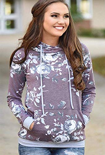 Barlver Women's Casual Hoodies Long Sleeve Sweatshirts Cowl Neck Floral Printed Hooded Pullover Top with Pockets by Barlver (Image #2)