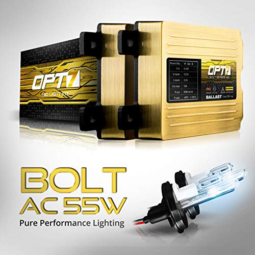 OPT7 Bolt AC 55w 9007 Hi-Lo HID Kit - 5X Brighter - 6X Longer Life - All Bulb Sizes and Colors - 2 Yr Warranty [8000K Ice Blue Xenon Light]