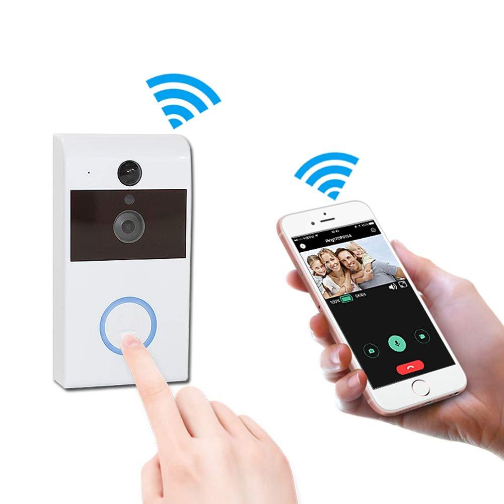 JIANFEI Drahtlose Türklingel Fernüberwachung USB-Schnittstelle Infrarot-Nachtsicht WIFI Zwei-Wege-Intercom (Farbe   Weiß)