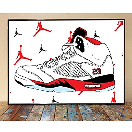 best service 0d4cf f5509 Amazon.com: Air Jordan 5 Fire Red Art Print: Posters & Prints