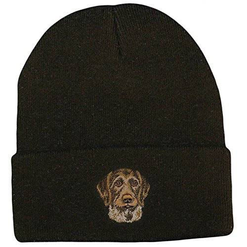 German Wirehaired Pointer Club - Cherrybrook Dog Breed Embroidered Ultra Club Classic Knit Beanies - Black - German Wirehaired Pointer