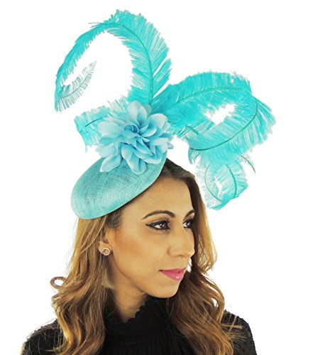 Hats By Cressida Turquoise Ascot Fascinator Hat For Ascot, Kentucky Derby & Weddings 35 by Hats By Cressida