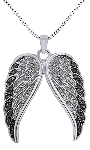 White Gold Round Angel Pendant - Round Cut White & Black Natural Diamond Angel Wings Pendant Necklace In 14K White Gold Over Sterling Silver