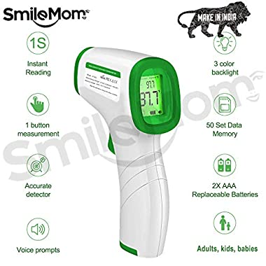 Smile Mom Digital Infrared Forehead Thermometer Gun for Fever, Body Temperature (Non Contact). Best for Kids, Adults. CE, ROHS, CNAS Certified 9