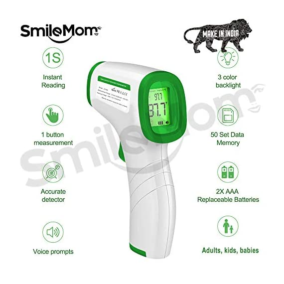 Smile Mom Digital Infrared Forehead Thermometer Gun for Fever, Body Temperature (Non Contact). Best for Kids, Adults. CE, ROHS, CNAS Certified 2