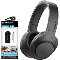 Sony H.ear on Wireless Noise Cancelling Headphone, Charcoal Black (MDR100ABN/B) w/ Xtreme 203511 Bluetooth 2-in-1 Wireless Audio Receiver