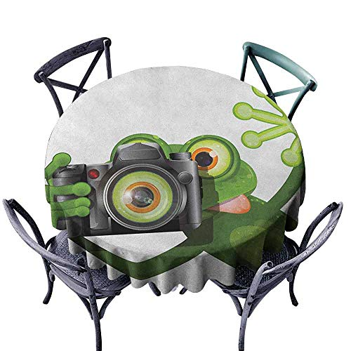 G Idle Sky Animal Easy Care Tablecloth Photographer Merry Green Frog Taking a Picture with His Camera Cute Funny Artful Indoor Outdoor Camping Picnic D67 White Black ()