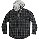 Quiksilver Men's Snap up Hooded Button Down Flannel Shirt, Dark Forest Snap up, S