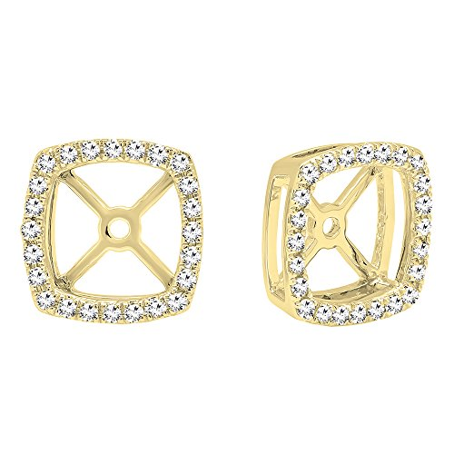 Dazzlingrock Collection 0.30 Carat (Ctw) 14K Round White Diamond Removable Jackets For Stud Earrings 1/3 CT, Yellow Gold