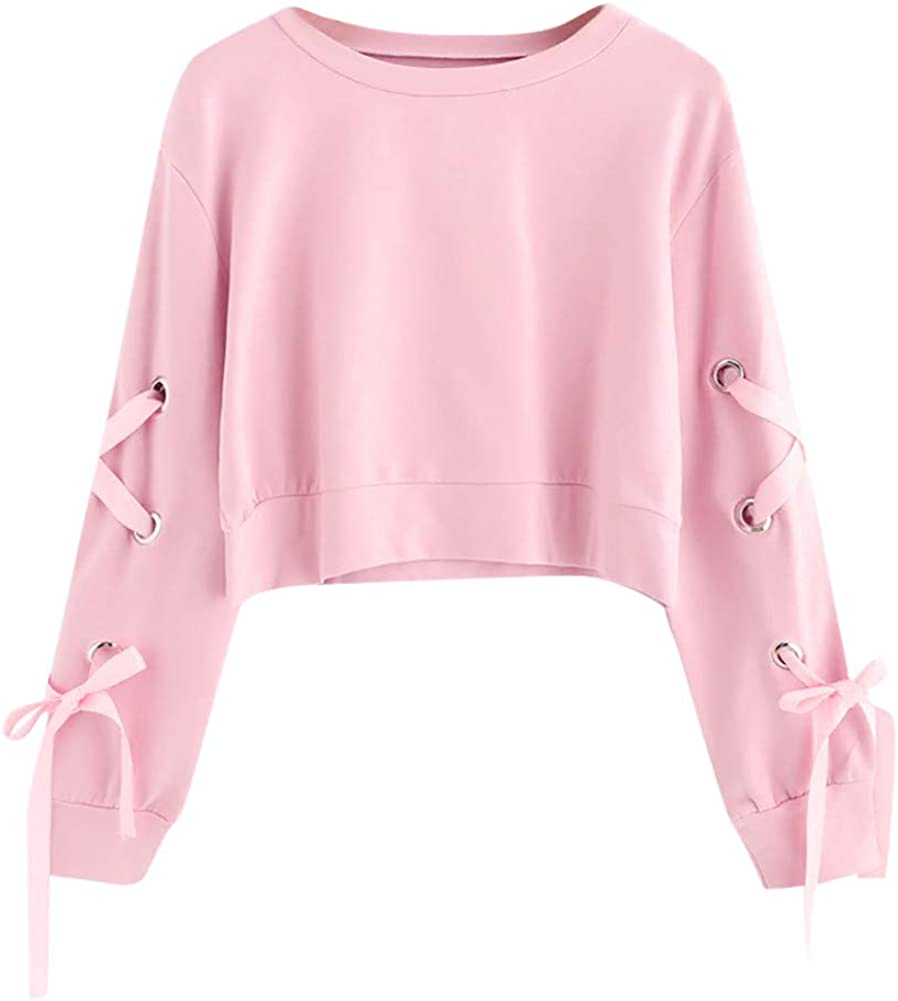 Walaka Sweat Shirt Femme Court Chic Fille Ados Sweat Casual Lace Up Solide Top Manches Longues Pull Sweatshirt