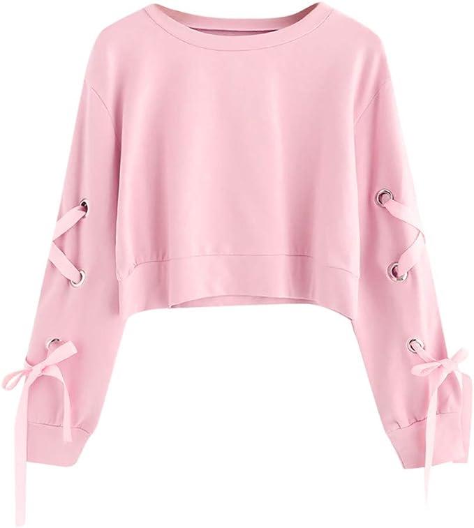 Moginp Frauen Sweatshirt,Teenage M/ädchen Casual Lace Up Langarm Pullover Crop Top