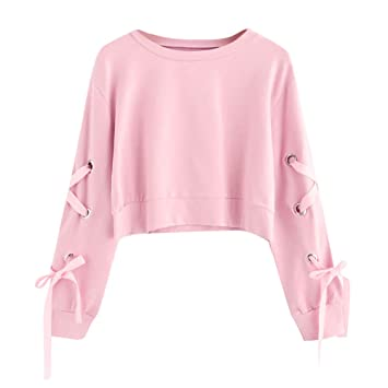 054392a4264cfb URSINGMode Frau Damen Lange Ärmel Sweatshirt Pullover Sweater Bandage Tops  Herbst Winter Langarm Vintage Strickpullover Strickpulli