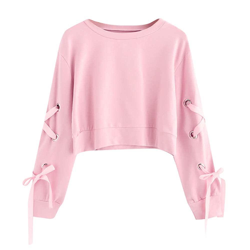 DOLDOA Womens Hipster Casual Lace Up Long Sleeve Pullover Crop Top Solid Breathable Sweatshirt