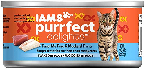 Iams Purrfect Delights Flaked Adult Wet Cat Food, Tuna & Mackerel, 3 Oz. (Pack Of 24)