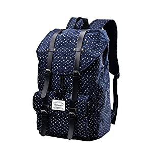 Epokris Unisex 14 Inch Laptop Backpack School Lightweight Floral Backpack for Teens E00286 blue