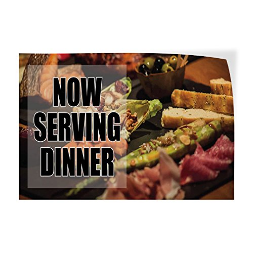 Decal Sticker Multiple Sizes Now Serving Dinner! #3 Business Meat Olives and Toast Outdoor Store Sign Black - 58inx38in, Set of 2