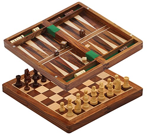 - SouvNear SG-TNG-002 2 in 1 Chess and Backgammon Set Board Game, 10.5 x 10.5 x 1 Inches, Brown