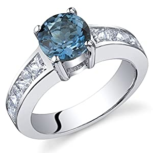 Peora London Blue Topaz Promise Ring in Sterling Silver, Natural Gemstone, Solitaire Round Shape, 7mm, 1.50 Carats total…
