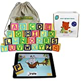 ABC Learning Montessori Toys for Kids & Toddlers | Smart Alphabet Blocks for Educational iPad Tablet Games for Children 1-6, Kindergarten & Preschool - Learn English & Spanish | Includes 5 Free Apps