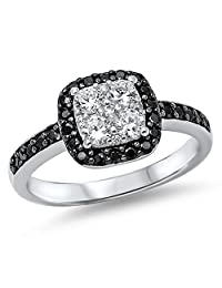 Women's White Black Simulated CZ Cluster Wedding Ring .925 Sterling Silver Band Sizes 5-10