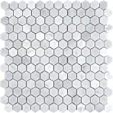 "Bianco White Carrara 1"" Hexagon POLISHED Mosaic Tile on 12x12 Sheet - 6"" x 6"" Sample by Marbleville"
