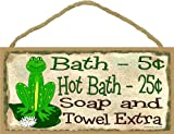 Frog Bath 5 Cent Soap & Towel Extra Bathroom Wall Decor Sign Plaque 5''x10''