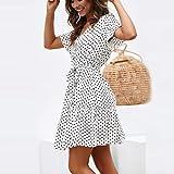 Women Dot Printed Dress, NDGDA Short Sleeve Bandage Button Casual Beach Dress White