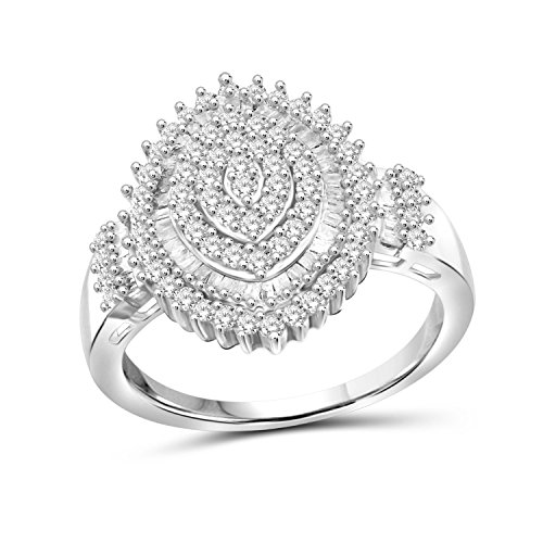 Jewelexcess 1.00 CTW White Diamond Marquise Shape Ring in Sterling Silver