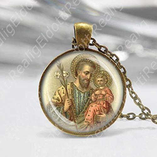 St Joseph w Baby Jesus Catholic Necklace Medal Religious Pendant Vintage Bronze Tone