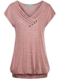 Women's Cross V Neck Short Sleeve Pleated Front Loose Fit...