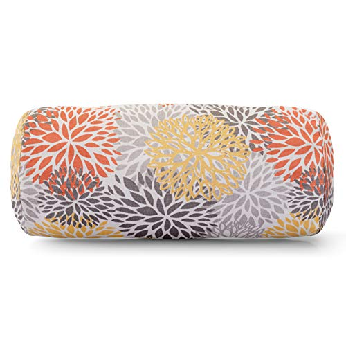 (Majestic Home Goods Citrus Blooms Indoor / Outdoor Round Bolster Pillow 18.5