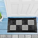 LHOTSE Heavy Duty Anti-Slip Floor mat,DIY Size and Pattern Splicing Combination, PVC Hollow Corrugated Mat,for Outdoor Hotel Restaurant Doorway Lobby (YS-Z6601 Black Gray, 17.7''X29.5'')